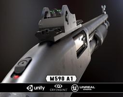 mossberg 590a1 - model and textures 3d asset VR / AR ready