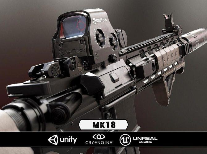 mk18 - model and textures 3d model low-poly obj mtl fbx tga 1