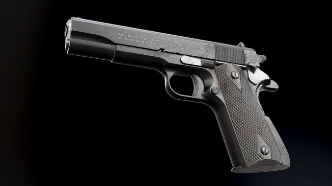 colt 1911 black and chrome - model and textures 3d model low-poly obj fbx tga 1