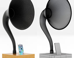 restoration hardware iphone gramophone walnut 3d model
