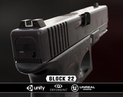 3d asset glock 22 - model and textures VR / AR ready