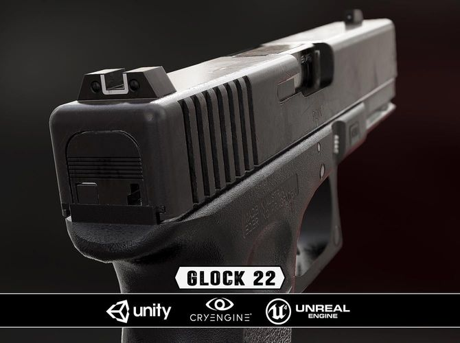 glock 22 - model and textures 3d model low-poly obj fbx tga 1