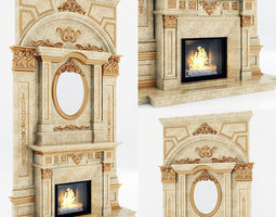 classical marble fireplace 6 3D
