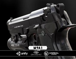 m9a1 black and chrome plus flashlight - model and textures low-poly