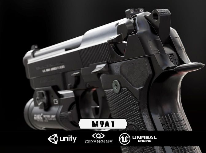 m9a1 black and chrome plus flashlight - model and textures 3d model low-poly obj fbx tga 1