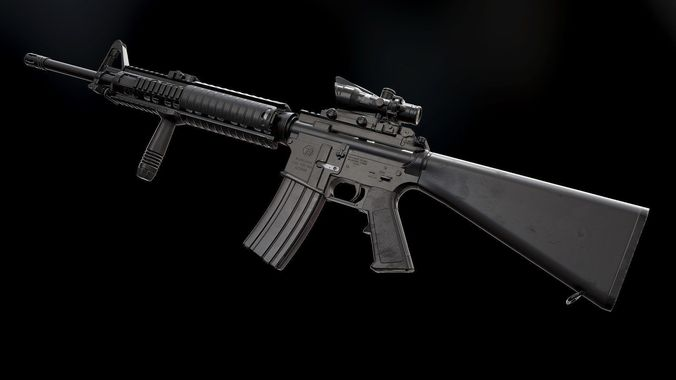 3D model M16A4 and Acog Scope - Model and Textures VR / AR ... M16a4 Acog