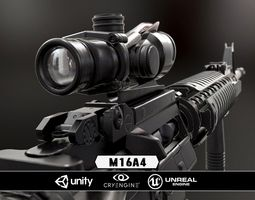 m16a4 and acog scope  - model and textures 3d asset VR / AR ready
