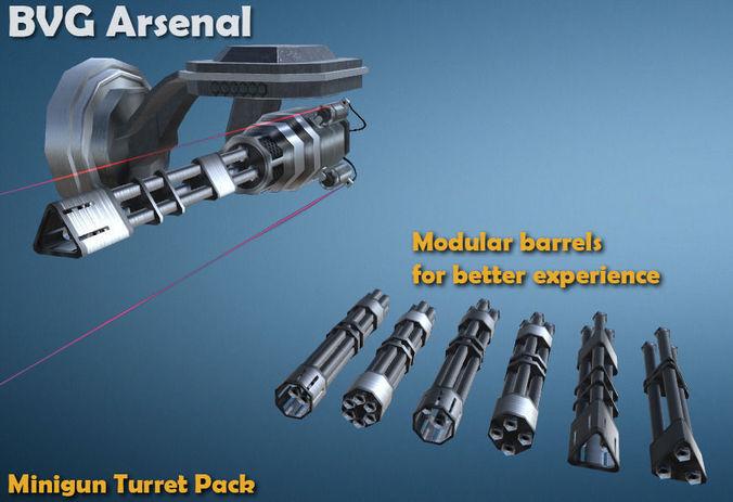 minigun turret - hq 3d model low-poly fbx ma mb 1