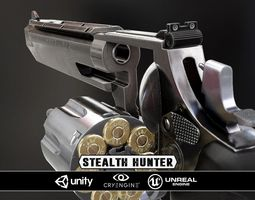 game-ready stealthhunter revolver - model and textures 3d asset