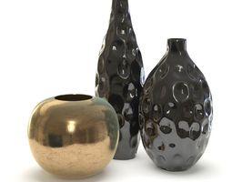 3D model Black Vases set decor
