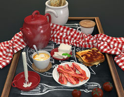 3D model breakfast set with toast bacon tomatos