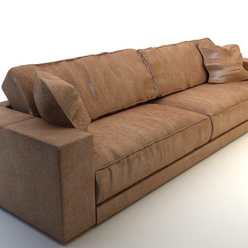 3d model photorealistic long leather sofa cgtrader for Divan furniture models