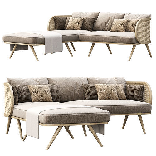 Victoria wooden rattan sofa FD50 with chaise lounge