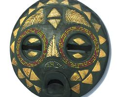 traditional round african art mask 3d model