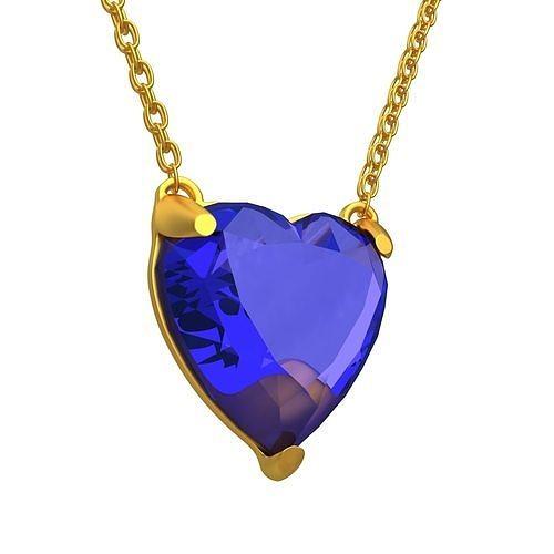GEMSTONE HEART Blue PENDANT NECKLACE