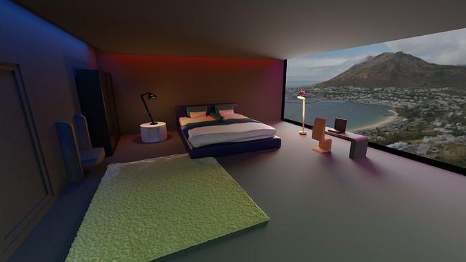 3D lowpoly bedroom