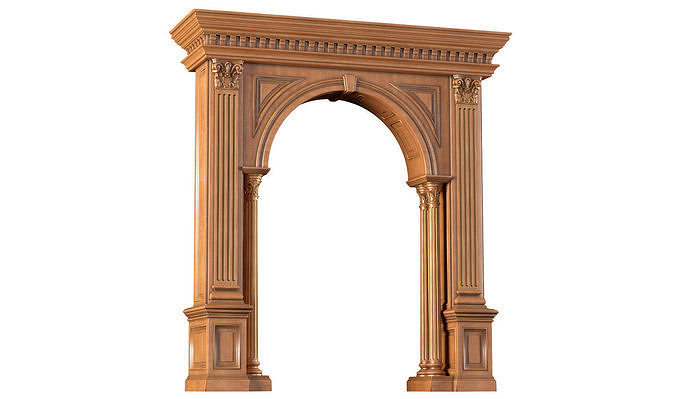 Arched doorway wood Arch in classic style