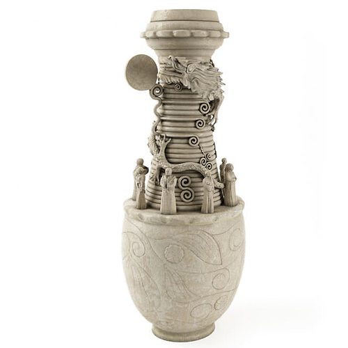 detailed gray vase 3d model obj 1