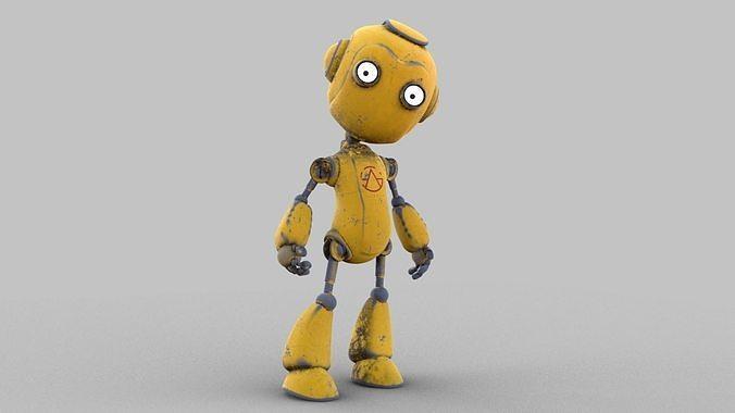 Cartoon rigged pbr robot