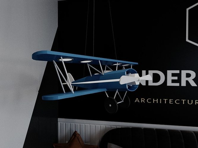 LowPoly Aeroplane toy with scene
