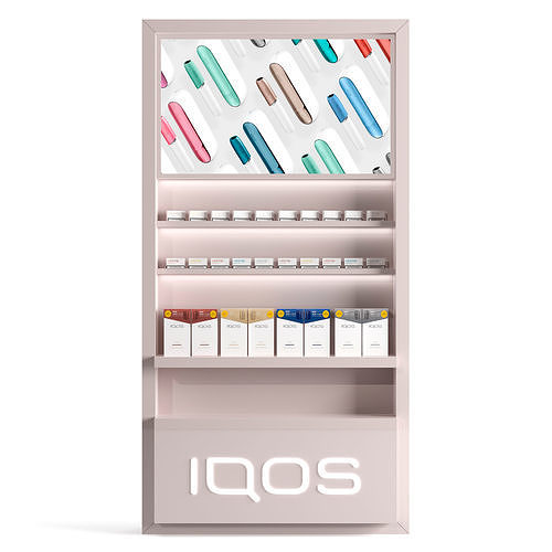 Showcase for the sale of IQOS with sticks