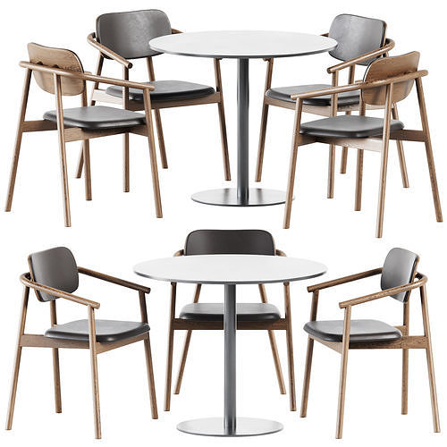 Table Sol D90 by Mobliberica and Klara Armrest Chair by Moroso