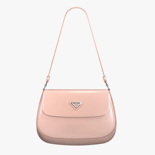 Prada Cleo brushed leather shoulder bag with flap Orchid Pink