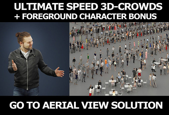 3d people crowds and a foreground casual man Keen