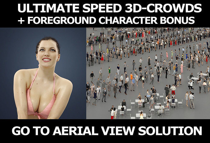 3d people crowds and a foreground Dream beach volleyball woman
