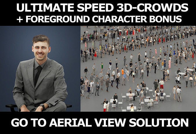 3d people crowds and a foreground Posture sitting business man