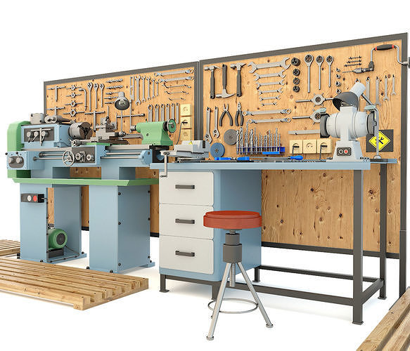 Industrial workbench garage tools and turning machine