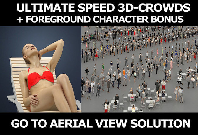 3d people crowds and a foreground beach sitting woman Beauty