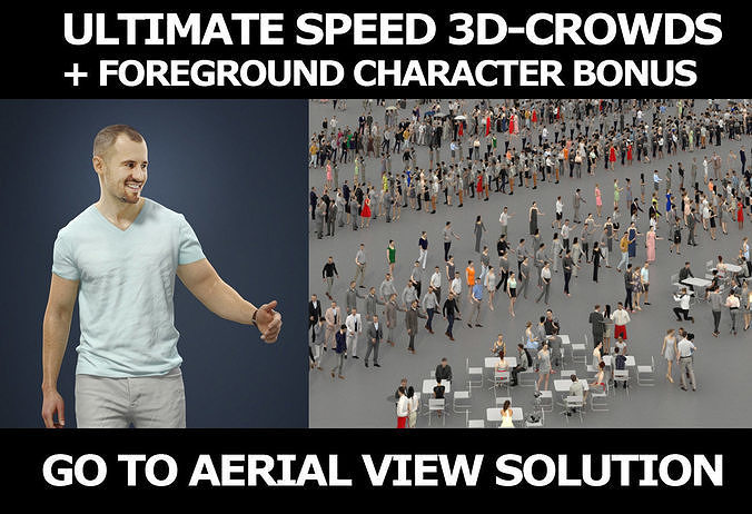 3d crowds and a foreground Master casual walking summer man