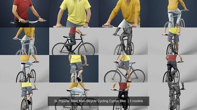 3x Popular Biker Man Bicycle Cycling Cyclist Bike