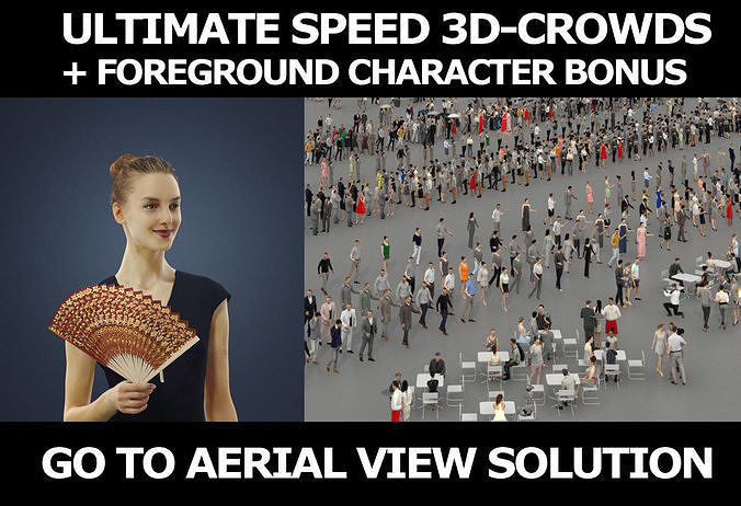 3d crowds and a foreground Beauty with a fan elegant woman