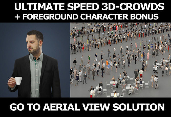 3d people crowds and Portrait foreground casual man coffee