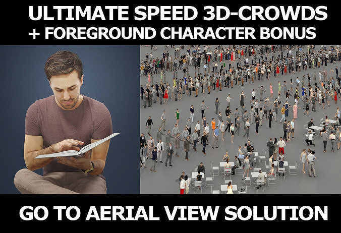 3d crowds and Flow foreground book reading sitting man