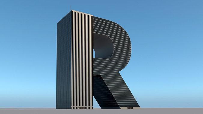 High-rise building skyscraper  letter R 3D model