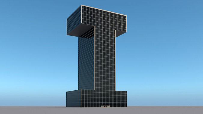 High-rise building skyscraper  letter I 3D model