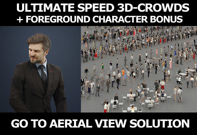 3d crowds and Ingrain foreground sitting business man