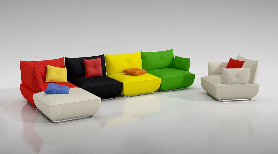 modern colorful couch 3d model obj
