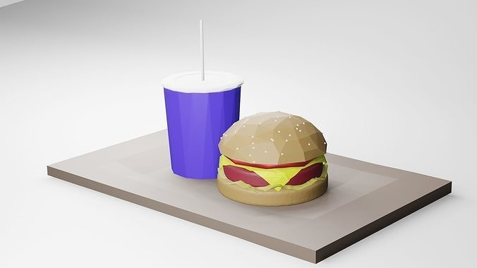 Hamburger and drink Low-poly 3D model