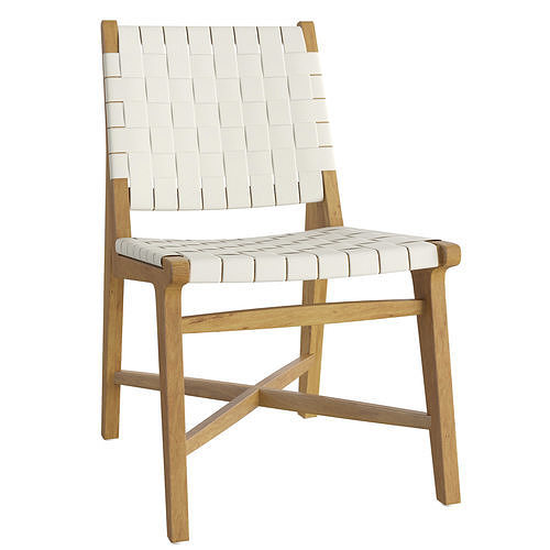 Taj White Woven Leather Dining Chair