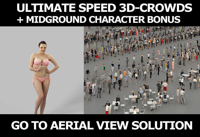 3d  crowds and Dream Martini a midground voluptuous beach woman