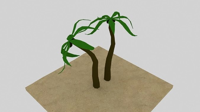 Two Low Poly Palm Trees