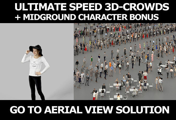 3d people crowds and Essence hat midground casual teenage girl