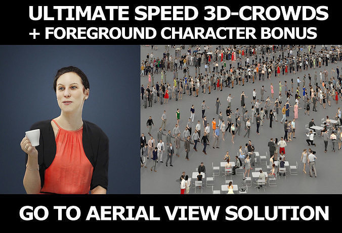 3d crowds and Eternal Elegant Casual Sitting Woman with coffee