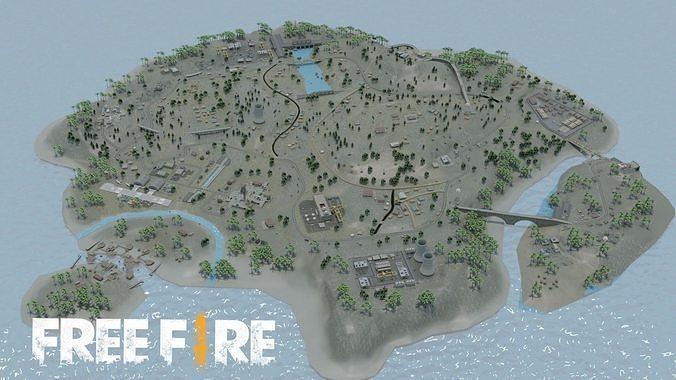 BERMUDA - Map - Free Fire 3D Model - Blender - Free Fire 3d Map