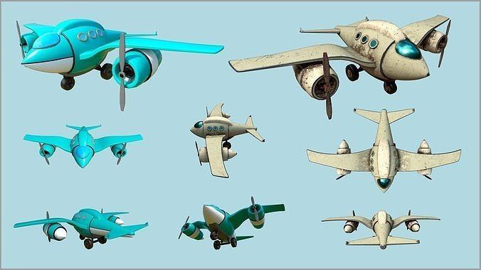 Fat Seagull cartoony stylized plane - 2 texture sets