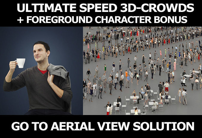 3d crowds and Jest with coffee A Foreground Casual Sitting Man